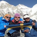 group photo at Everest Base Camp in Nepal