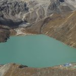 View of Gokyo Lake taken from helicopter.