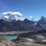 view of Everest and Gokyo Lake from Renjo La Pass